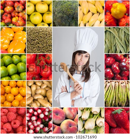 A woman with a chefs attire surrounded by images of fruits and vegetables - stock photo