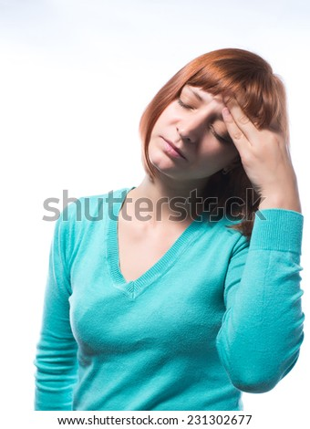 A woman with a headache holding head, isolated on white background