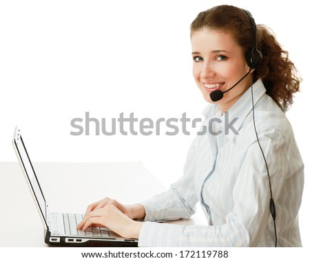 A woman with a laptop and headset , isolated on white background - stock photo