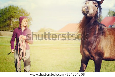A woman with a rope in his hand and a young playful stallion horse  - stock photo
