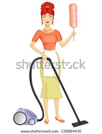 A woman with a vacuum cleaner suggests the order in the house