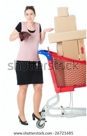 A woman with an empty purse in a shopping scenario