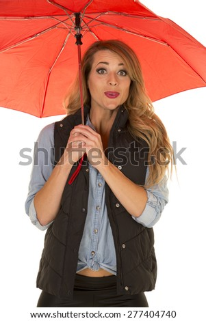A woman with an excited expression hiding under her umbrella.