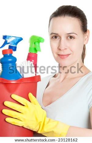A woman with cleaning gear on a white background - stock photo