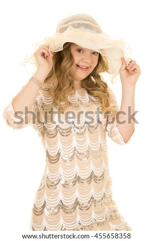 A woman with down syndrome with a smile, in her vintage dress.