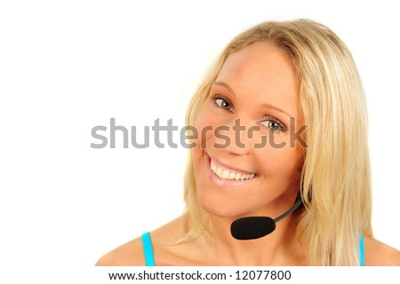A woman with headset