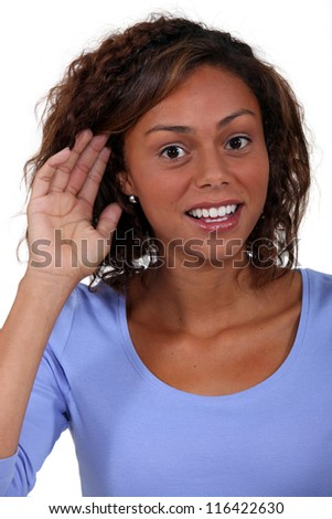 A woman with hearing problems. - stock photo