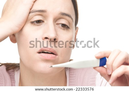 A woman worried by medical results on a white background - stock photo