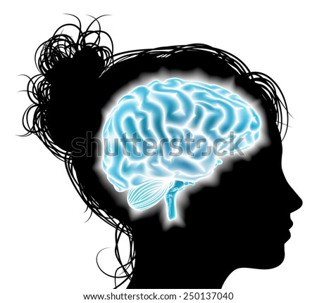A womans head in silhouette with a glowing brain. Concept for mental, psychological development, brain development, mental stimulation,  learning and education or other medical theme