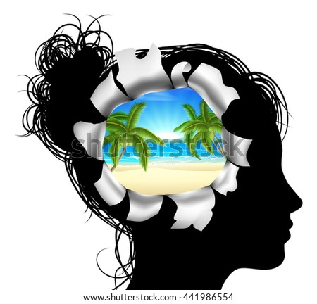 A womans head in silhouette with a tropical beach vacation scene. Concept for thinking or dreaming about a tropical beach vacation - stock photo