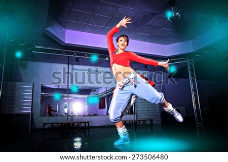 a women in sport dress at fitness dance exercise or aerobics - stock photo