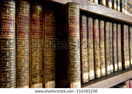 A wonderful library of old books in Cantabria - Spain - stock photo