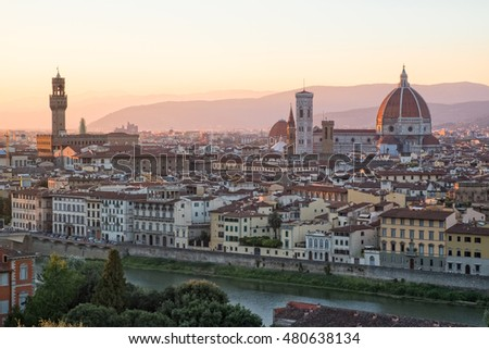 A wonderful sunset over Florence, Tuscany, Italy