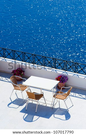 a wonderful view on open air cafe in santorini - stock photo