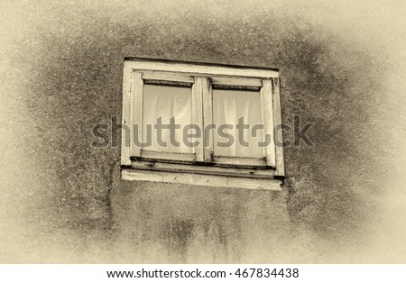 A wonderful window on the ancient wall of the house, which stands on the waterfront of Alber - Venice, Italy (stylized retro)