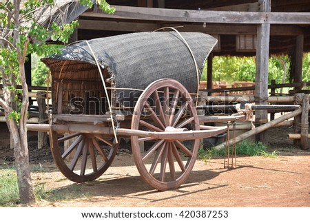 a wood cart at countryside in Srakaew, THAILAND