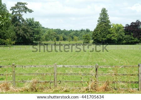 A wood fence with a green country field for background. - stock photo