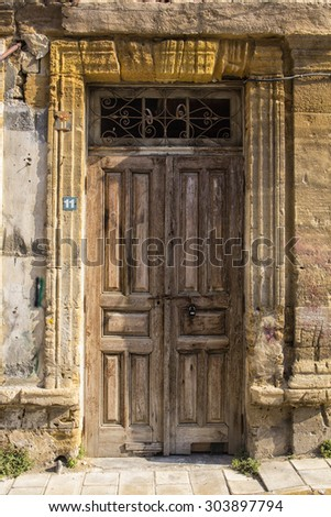 a wood old door in the centre of Nicosia,Cyprus - stock photo
