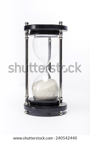 A wood sand timer(hour glass) isolated white background at the studio.