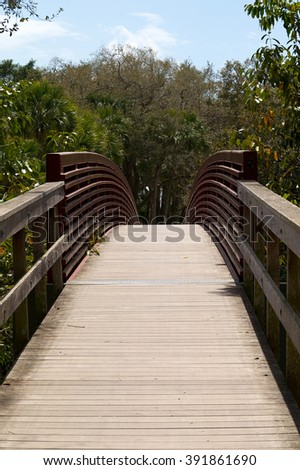 A wooden arched walking bridge with red metal side rails leads into forest in bonita springs, florida. - stock photo