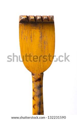 a wooden backscratcher on a white background - stock photo