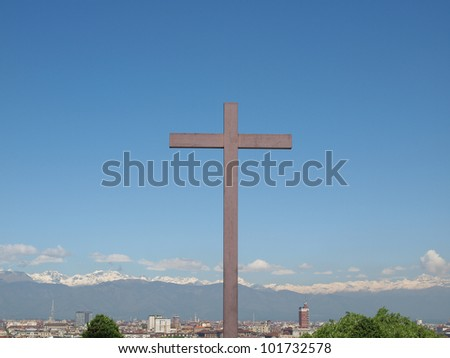 A wooden Christian cross symbol of Christianity on the Turin Hills at Monte dei Cappuccini, Torino, Italy