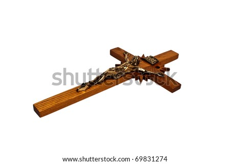A wooden cross isolated on a white background.
