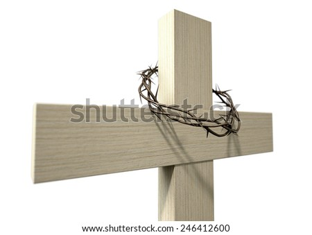 A wooden cross that has a christian woven crown of thorns on it depicting the crucifixion on an isolated background  - stock photo