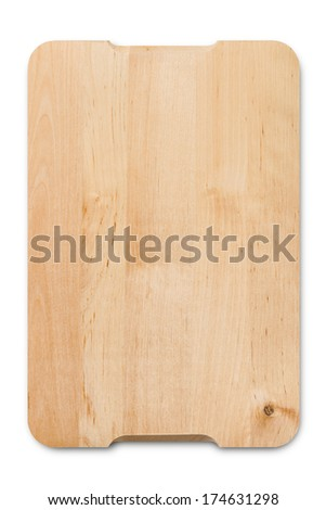 A wooden cutting board isolated on a white background with clipping-path - stock photo