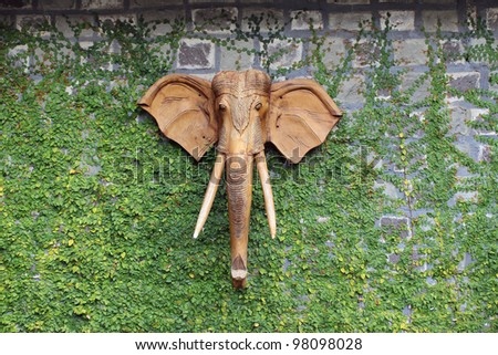 A wooden elephant head hanging on stone wall covered by small green plant. - stock photo