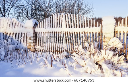 A Wooden Fence And Branches Of A Raspberry Bush Under A Large Layer Of Snow  In