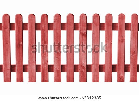 a wooden fence isolated on white - stock photo