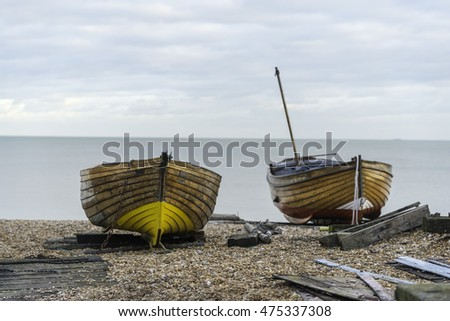 A wooden fishing boat on the beach at deal in Kent