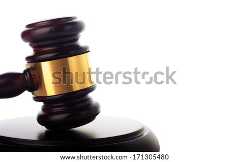 a wooden gavel isolated on white background - stock photo