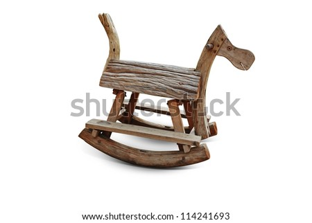 A wooden horse on white background with clipping path