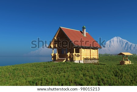 A wooden house on the background of the mountain landscape.