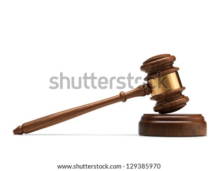 A wooden judge gavel and soundboard isolated on white background.