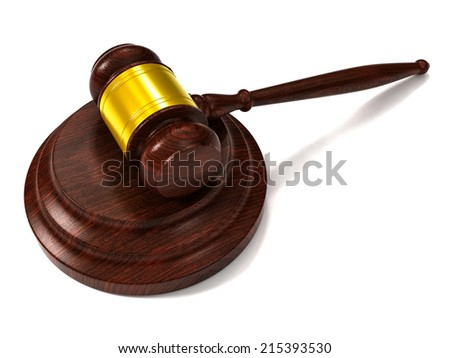 A wooden judge gavel and soundboard isolated on white background. Perspective view.