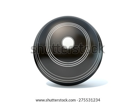 A wooden lawn bowling ball on an isolated white studio background - stock photo