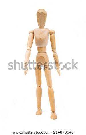 A wooden Mannequin isolated on white background  - stock photo