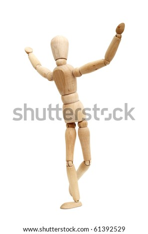A wooden mannequin work out