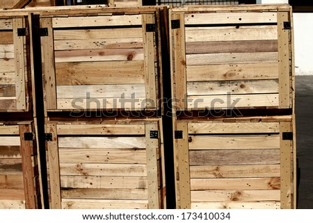A wooden pallet bunch in warehouse - stock photo