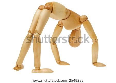 """A wooden person """"bending over backwards"""" to accommodate or doing gymnastics, isolated white - stock photo"""