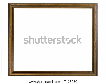 A  wooden picture frame isolated on white background