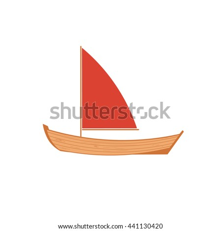 A wooden sailboat on a white background. Wooden boat isolated. Boat isolated. - stock photo
