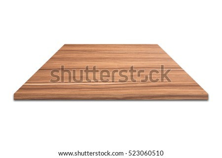 A wooden shelf on white background.