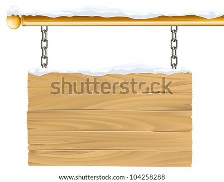 A wooden snowy winter Christmas sign hanging suspended from chains and metal pole