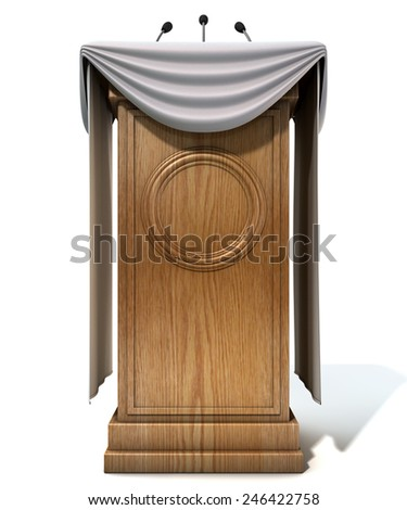 A wooden speech podium with three small microphones attached and decorated with generic white draping on an isolated white studio background - stock photo
