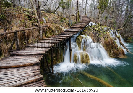 A wooden walking path at Plitvice Lakes national park, Croatia - stock photo