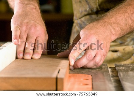 A woodworker's hands sawing a piece of wood on a table saw. - stock photo